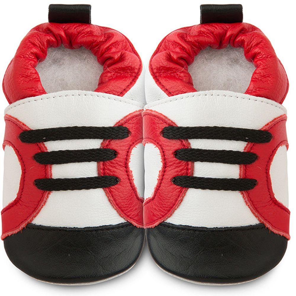 英國 shooshoos - 健康無毒真皮手工鞋/學步鞋/嬰兒鞋/室內鞋/室內保暖鞋-紅白運動型