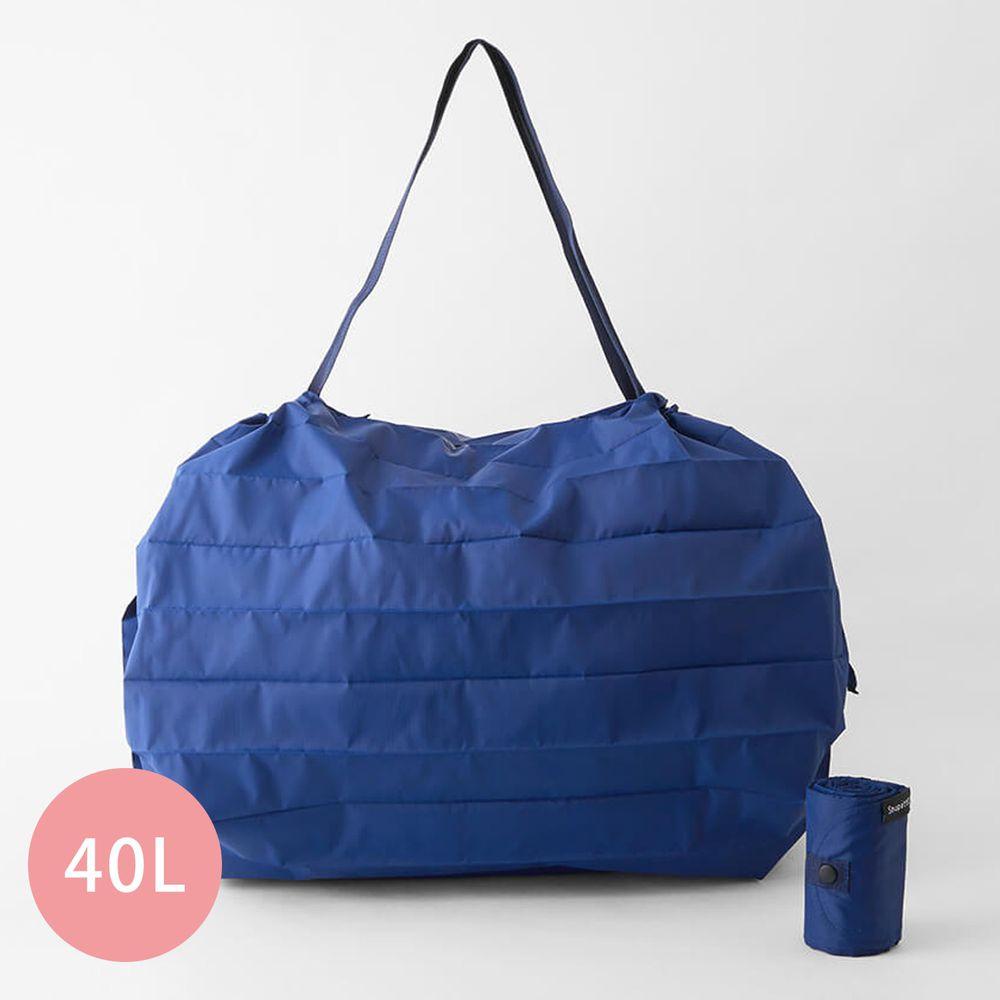 日本 MARNA - Shupatto 秒收摺疊購物袋(可掛購物籃)-五週年限定升級款-沈靜藍 (L(50x38cm))-耐重15kg / 40L
