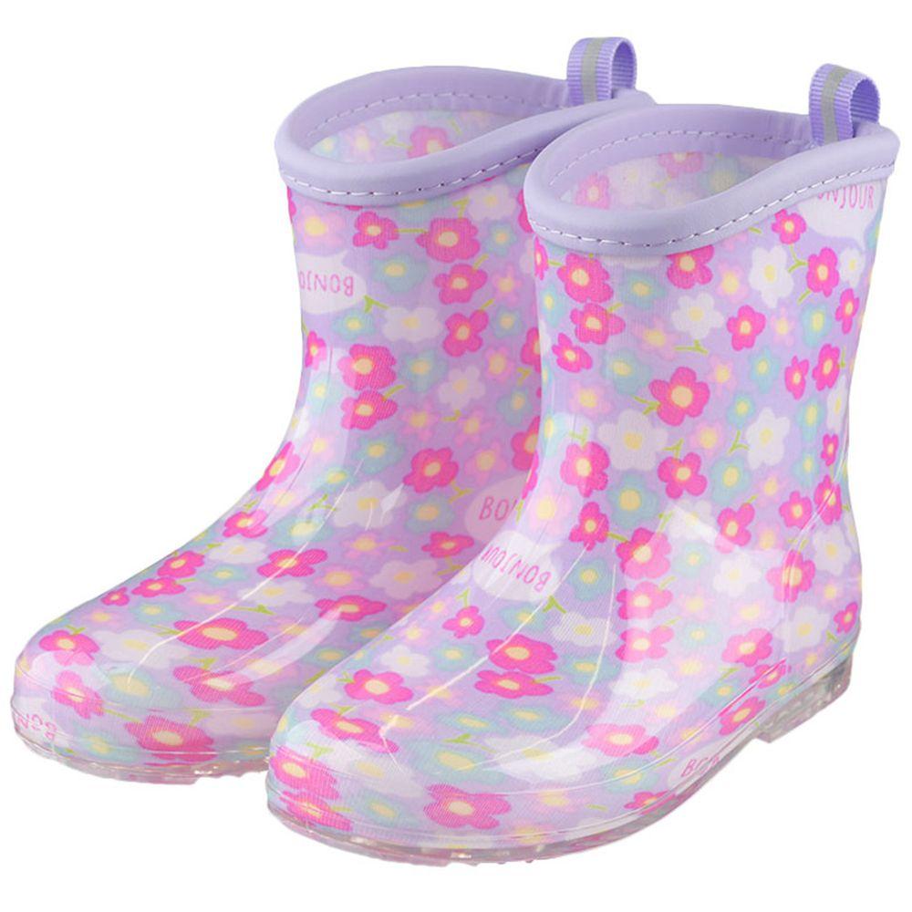 akachan honpo - 雨鞋-小花-紫色