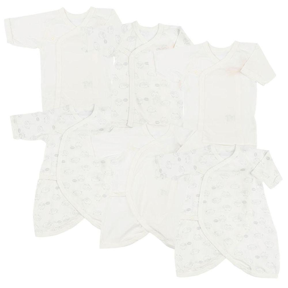 akachan honpo - 新生兒內衣6件組長袖 釦子款-動物-淡灰色 (50~60cm)