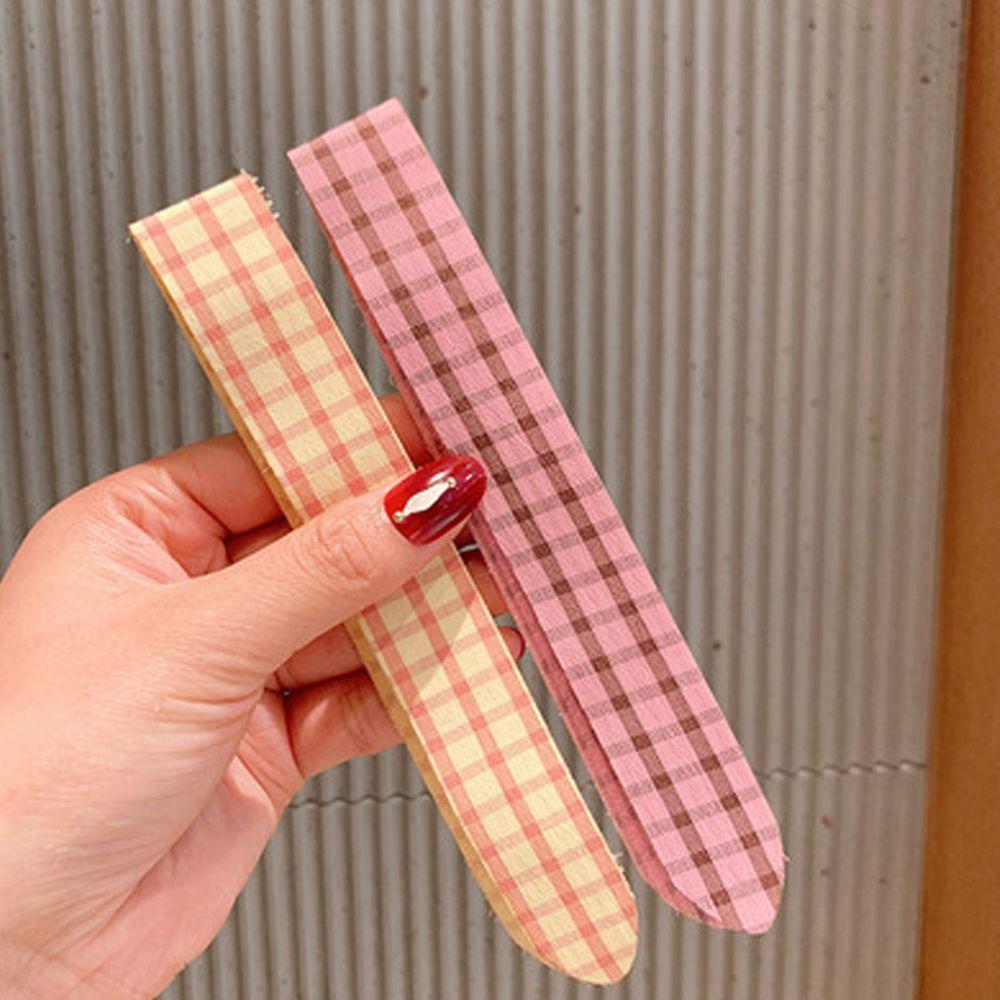 小清新魔術貼無痕髮箍-粉色+黃色格紋 (一組2入)