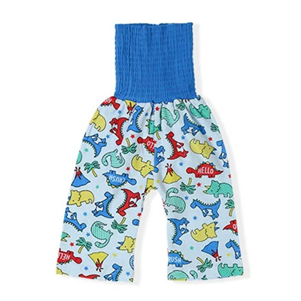 日本 ZOOLAND - 涼感 100%棉腹卷睡褲-恐龍兄弟-水藍
