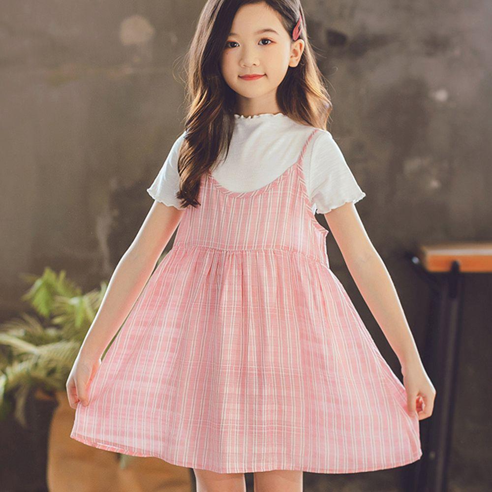 TOUNGIEE - 兩件式粉色格子吊帶洋裝