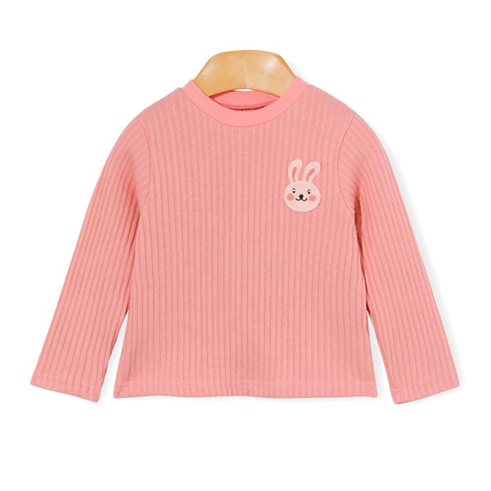 韓國 OZKIZ - 刺繡小兔螺紋針織衣-粉紅