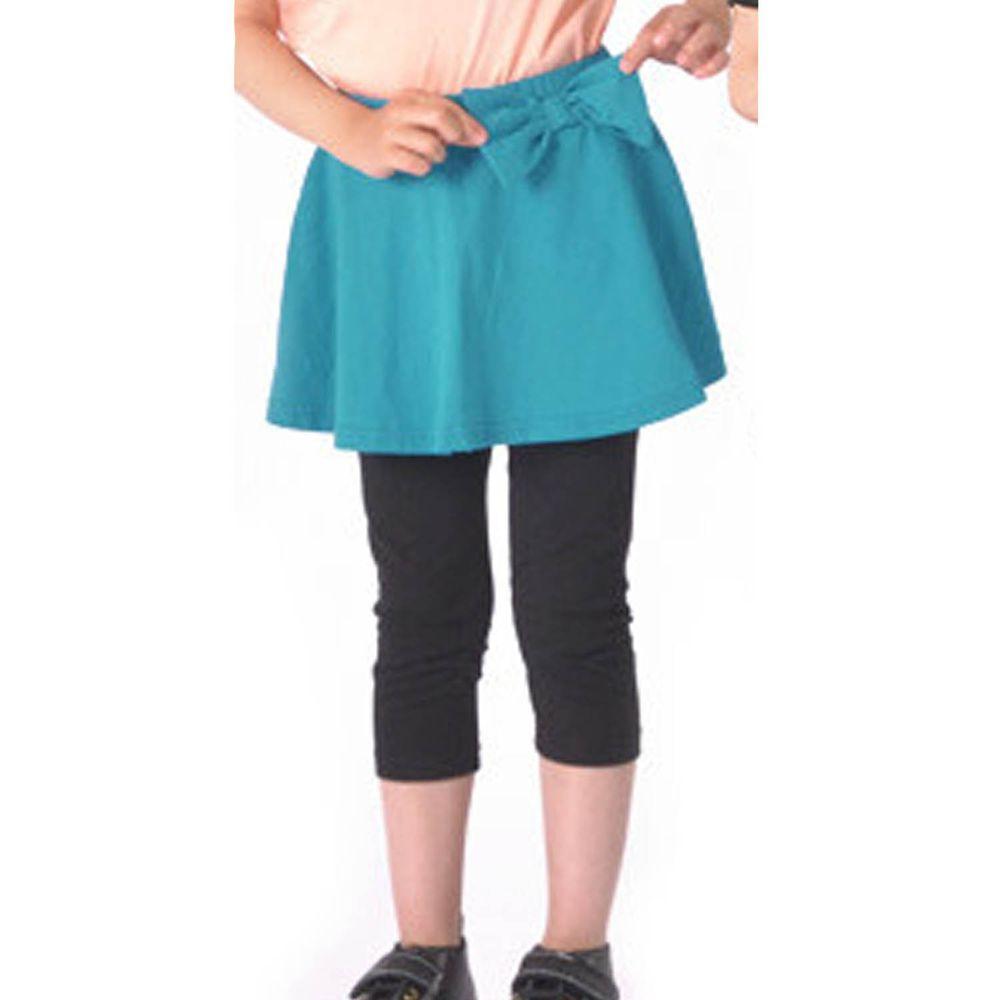 日本 TORIDORY - 百搭蛋糕七分內搭褲裙-藍綠X黑