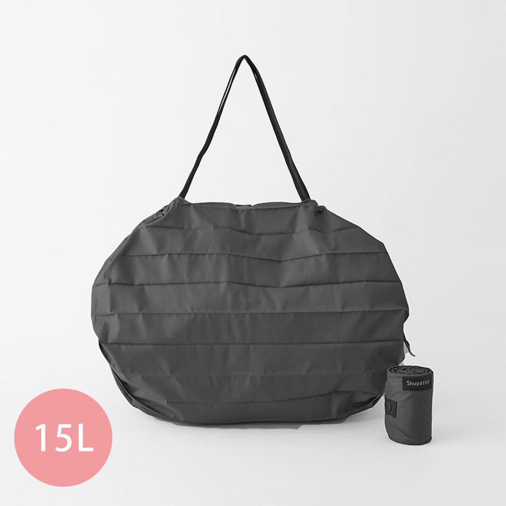 日本 MARNA - Shupatto 秒收摺疊購物袋-五週年限定升級款-石墨灰 (M(30x35cm))-耐重5kg / 15L