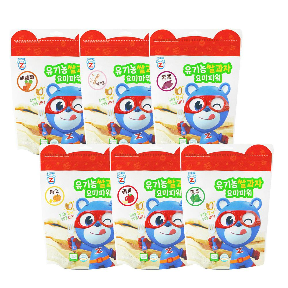 韓國-超人傑克 - 大米米餅綜合6入組-胡蘿蔔、白米原味、紫薯、南瓜、蘋果、菠菜-20g*6