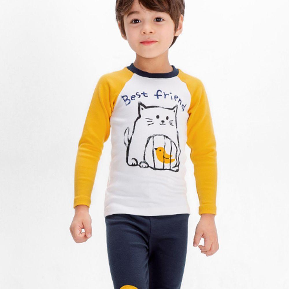 韓國 Mellisse - 韓製裏起毛無螢光棉長袖家居服-貓咪與小鳥-黃