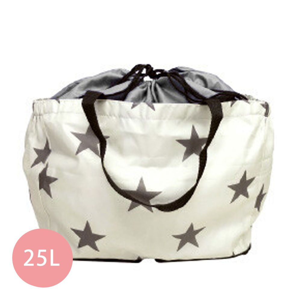 日本 Chepeli - 超大容量保冷購物袋(可套購物籃)-星星-灰米-25L/耐重15kg