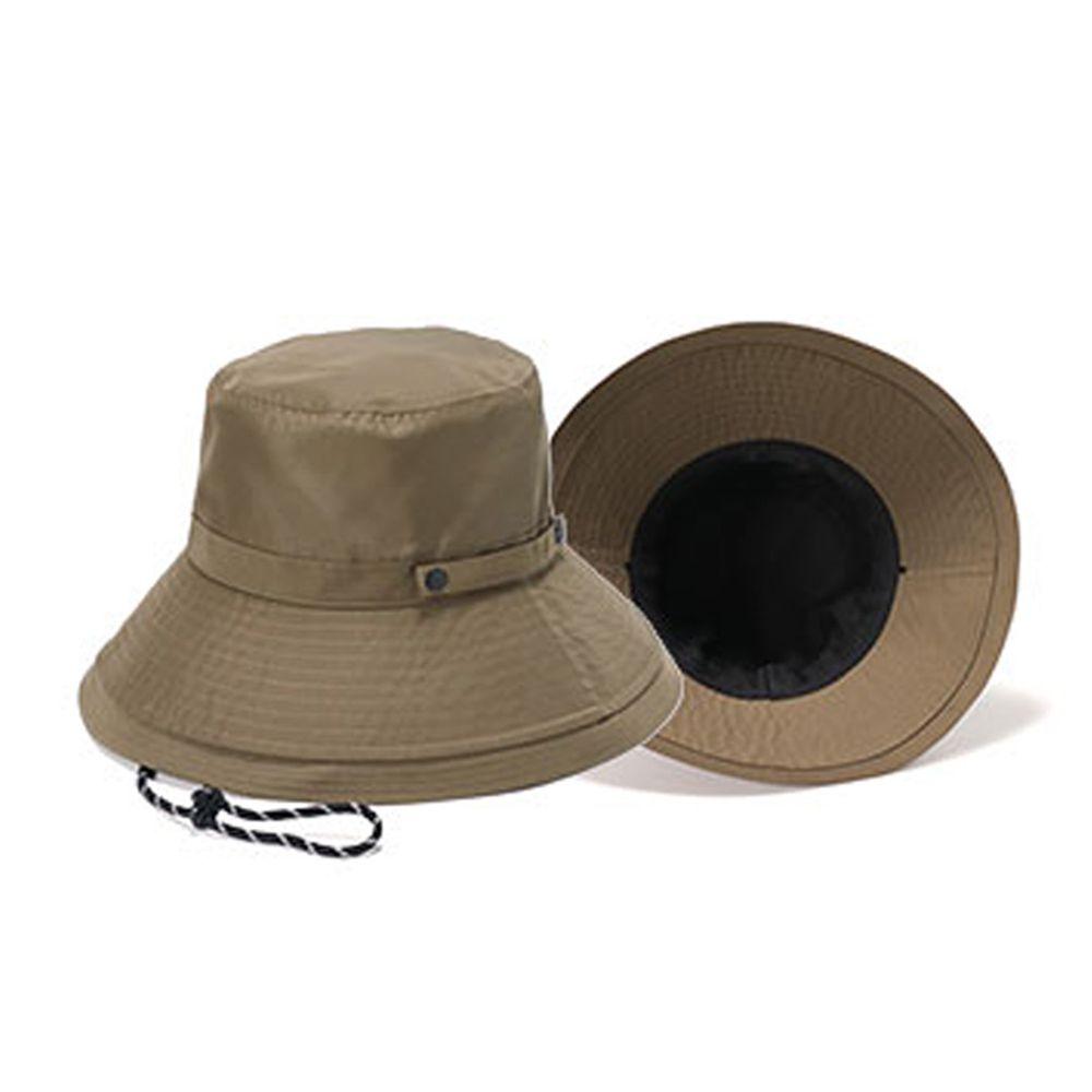 日本 irodori - 【irodori】抗UV可捲收防潑水遮陽帽(附防風帽帶)-橄欖綠