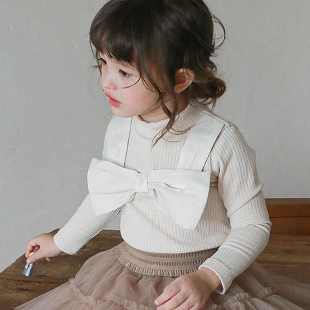 韓國 Puellaflo - 大蝴蝶結裝飾羅紋針織上衣-杏