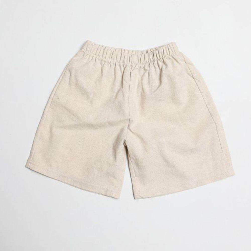 韓國製 - 棉麻寬版7分褲-杏