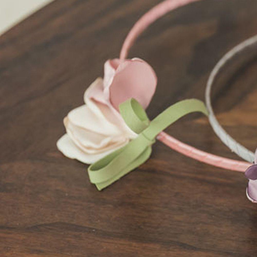 韓國 Coco Ribbon - 美麗花朵髮箍-粉紅X米白