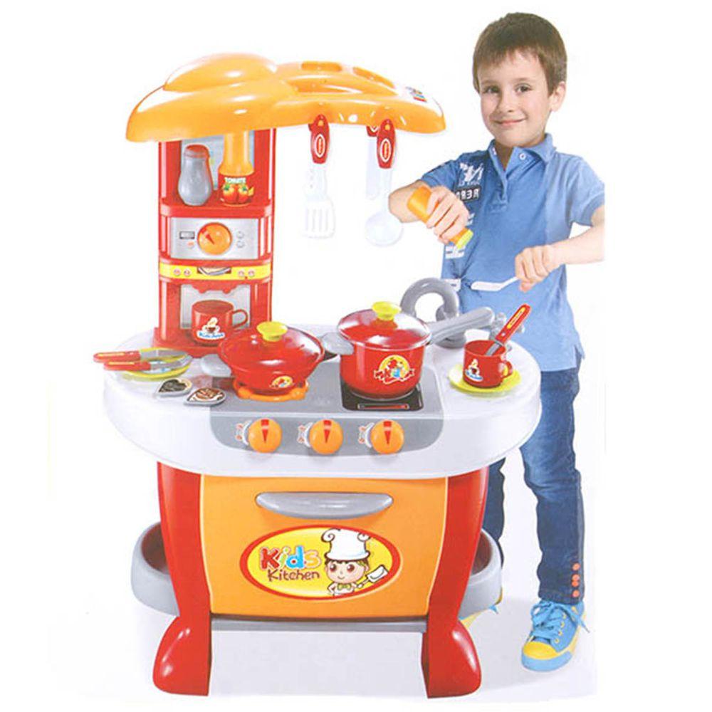 酷比樂 - 家家酒系列玩具/聲光觸控廚房組-紅色