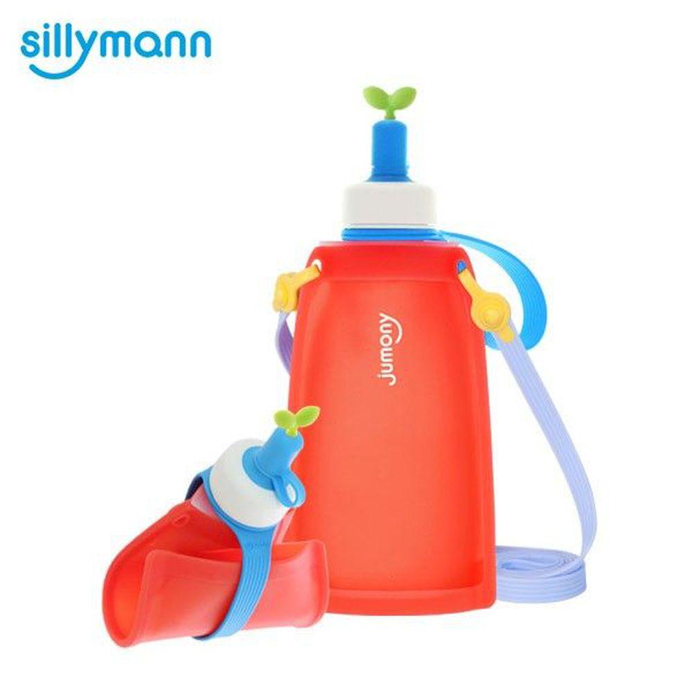 韓國 sillymann - 100%兒童便攜捲式鉑金矽膠水瓶-甜椒紅-300ml