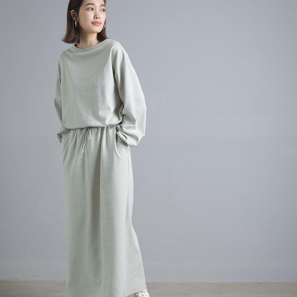 日本女裝代購 - 簡約舒適彈性長袖洋裝-薄荷綠