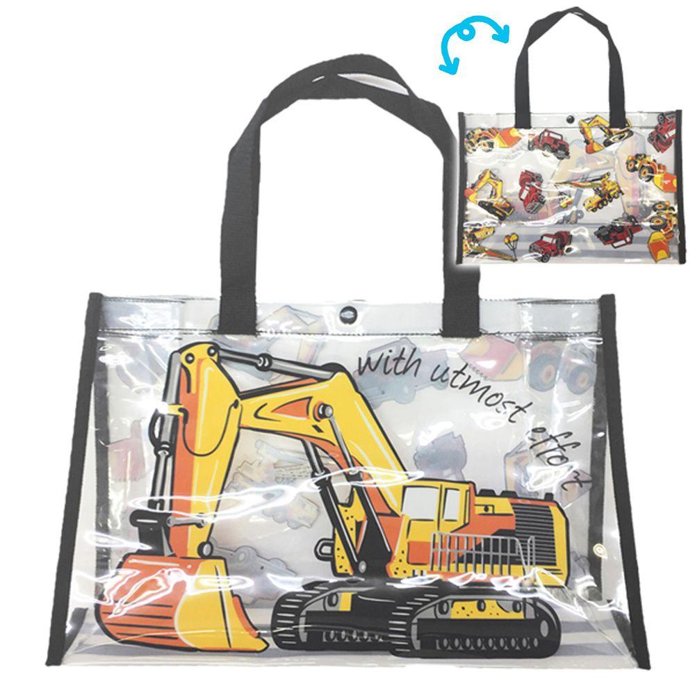 日本服飾代購 - 防水PVC游泳包(雙面圖案設計)-挖土機-黑 (25x36x13cm)