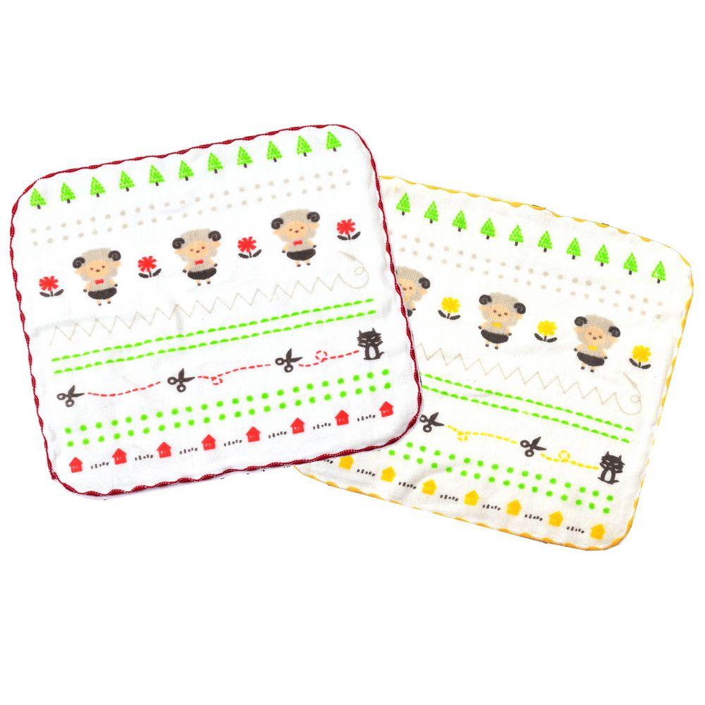 貝柔 Peilou - 童話抗菌紗布小方巾-新七小羊-紅色+黃色 (26x26cm)-6入組