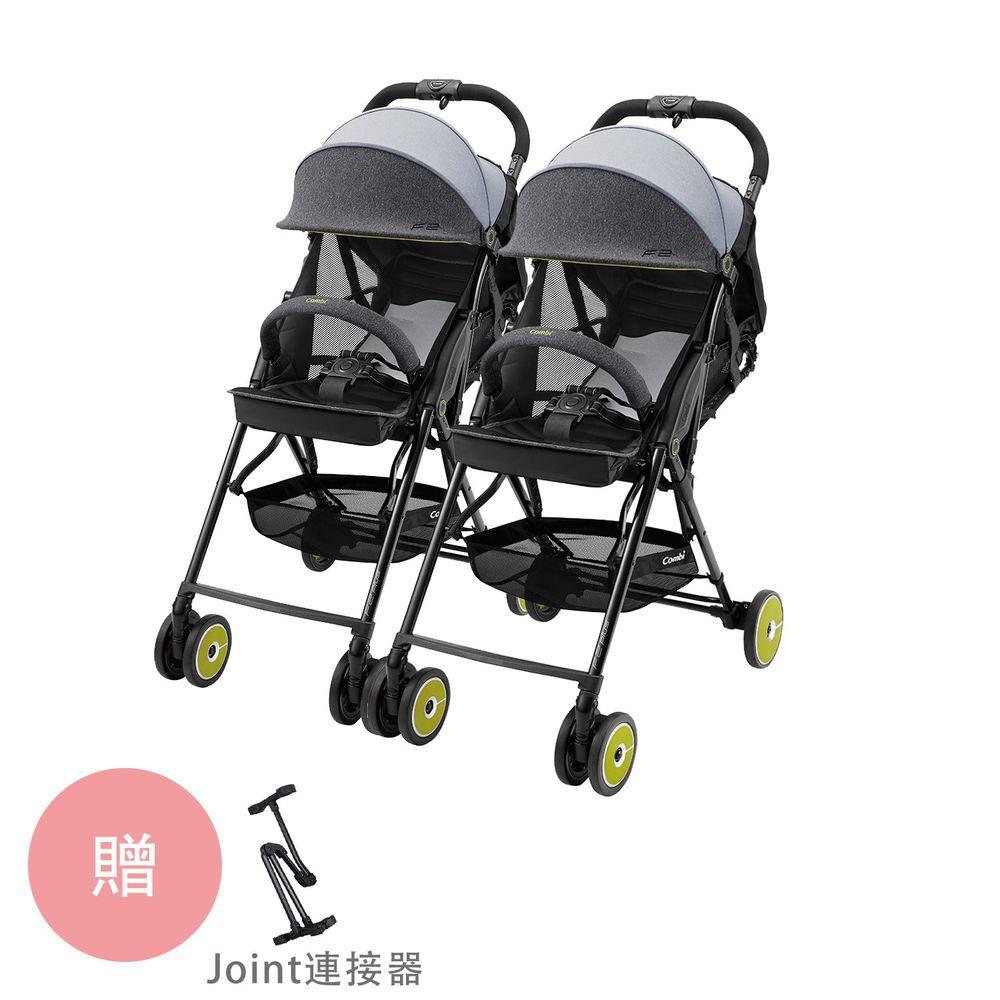 日本 Combi - F2plus AJ 超輕靚美型嬰兒手推車-雙寶Joint 組合-岩井綠x2-1個月~36個月(體重15kg以下)