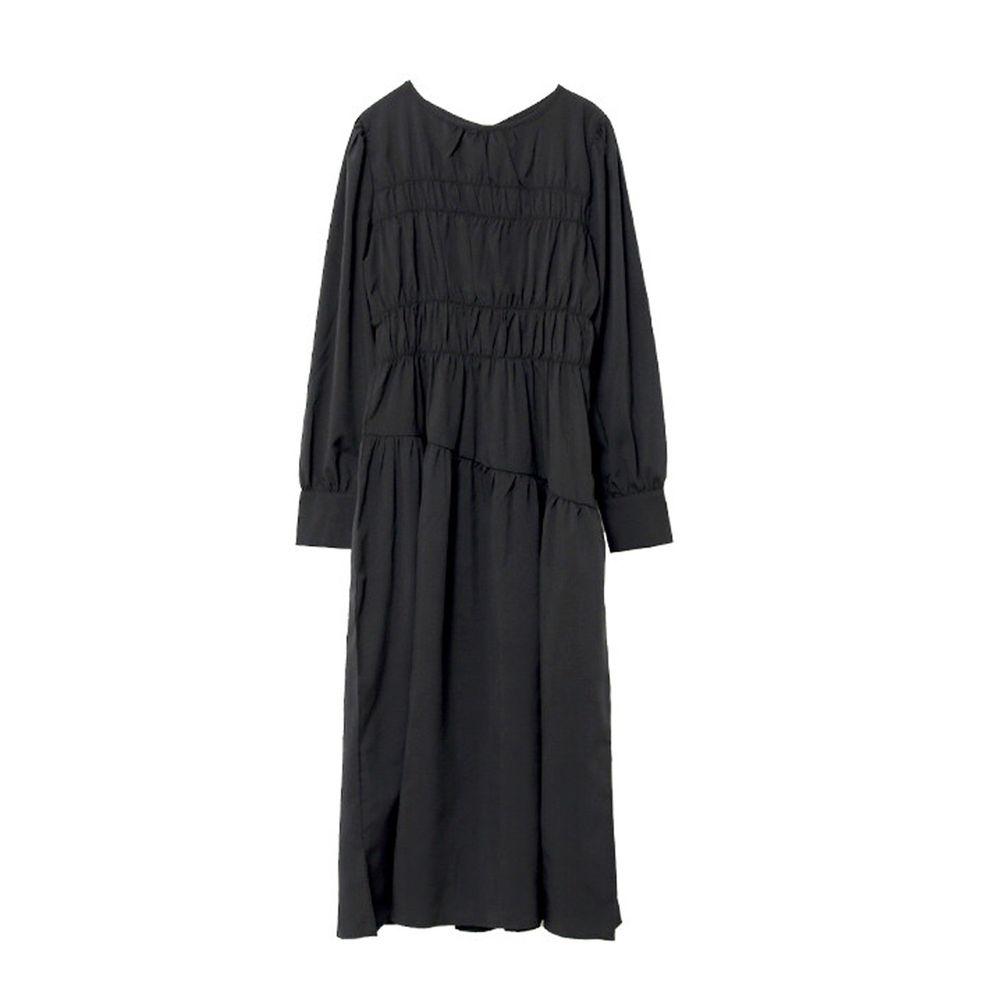 日本女裝代購 - 設計感抓皺泡泡袖洋裝-黑 (M(Free size))