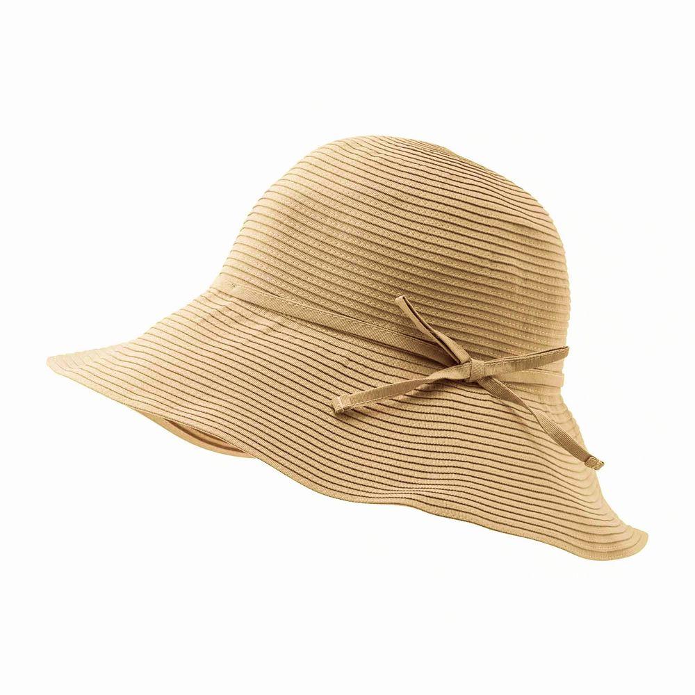 日本小泉 - UV cut 99% 涼感 大帽簷遮陽帽-素面蝴蝶結-杏 (可調頭圍~58cm)
