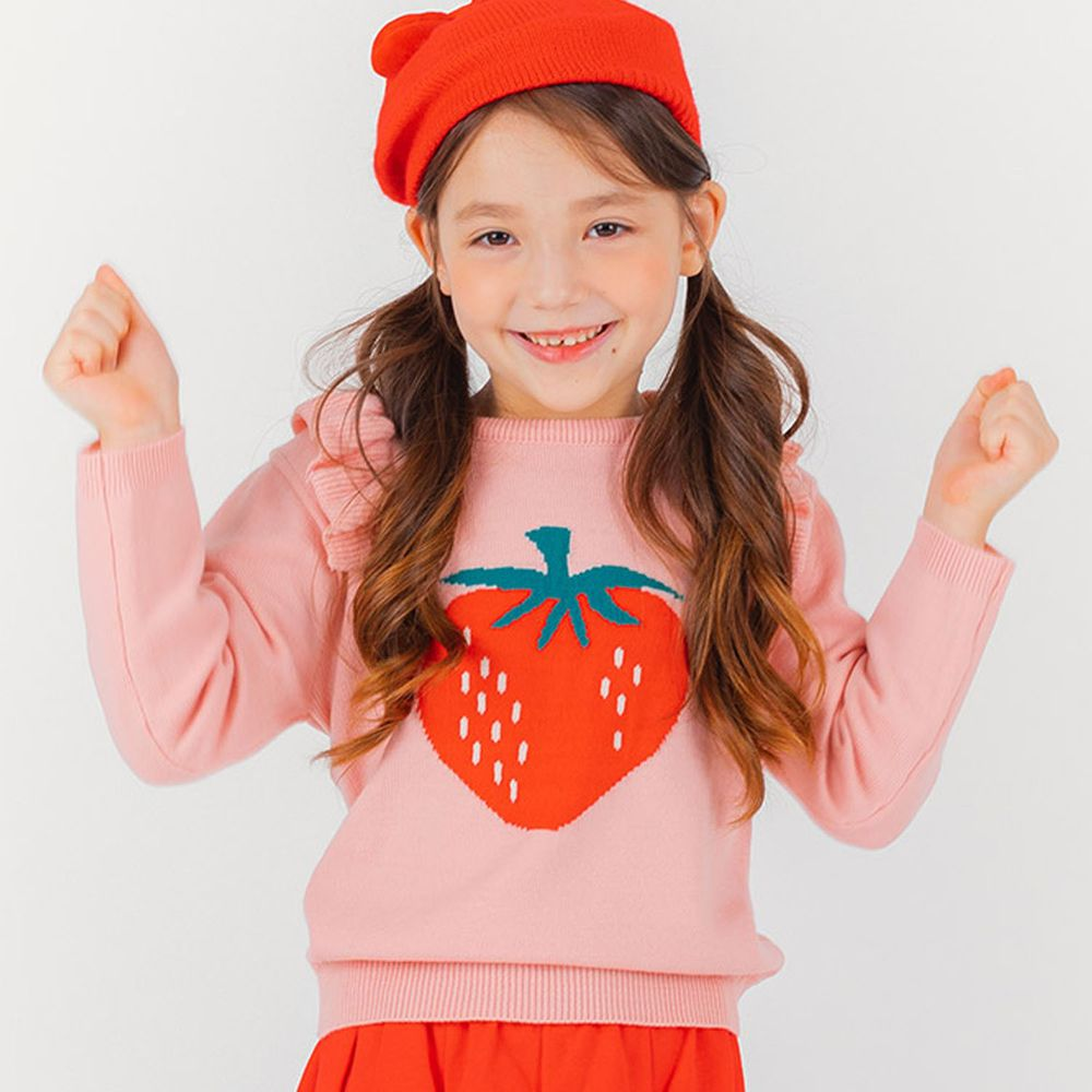 韓國 OZKIZ - 荷葉裝飾一顆草莓針織上衣