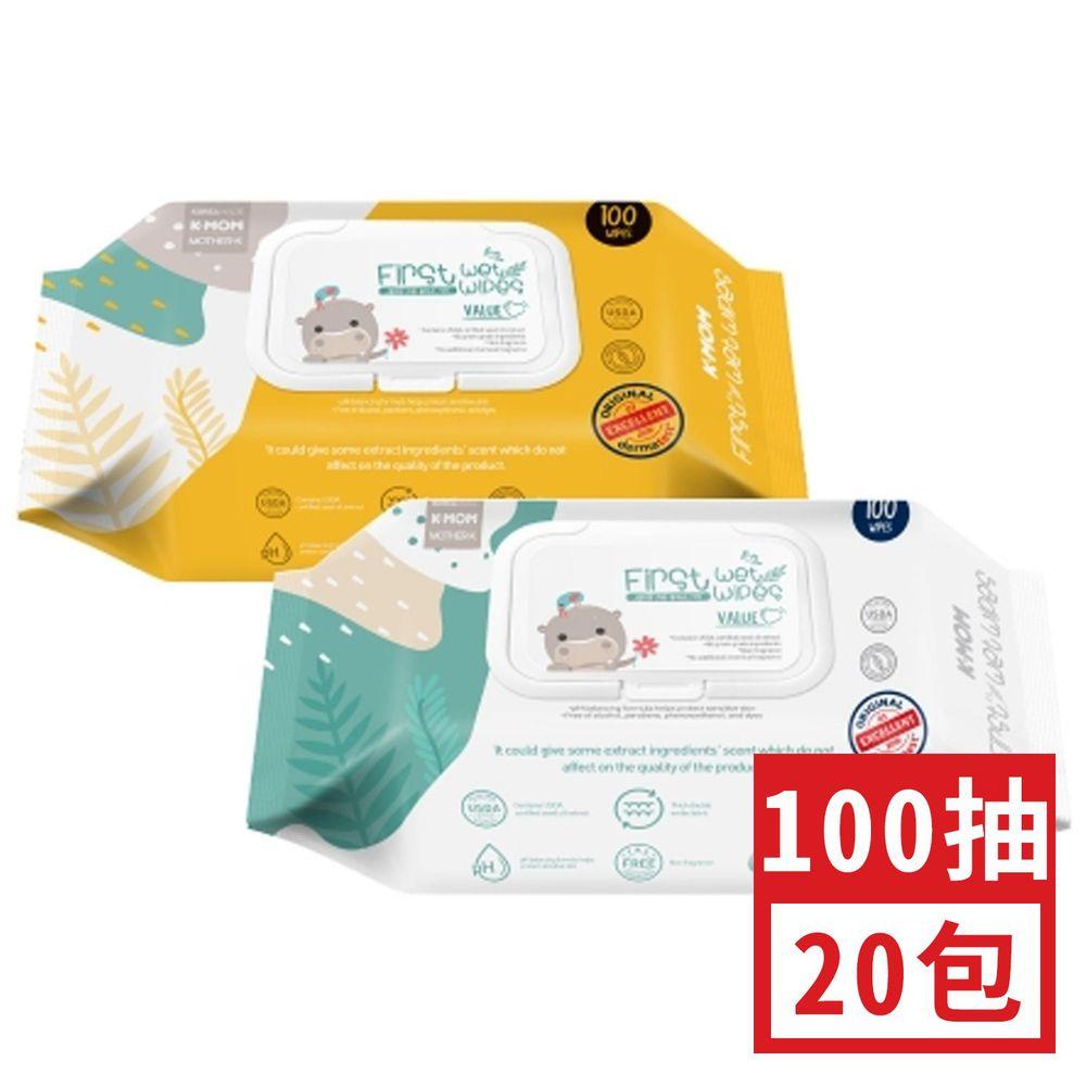 Mother-k - 自然純淨嬰幼兒濕紙巾-掀蓋柔花款 100抽 (約 26x12x9cm)-100抽20包組