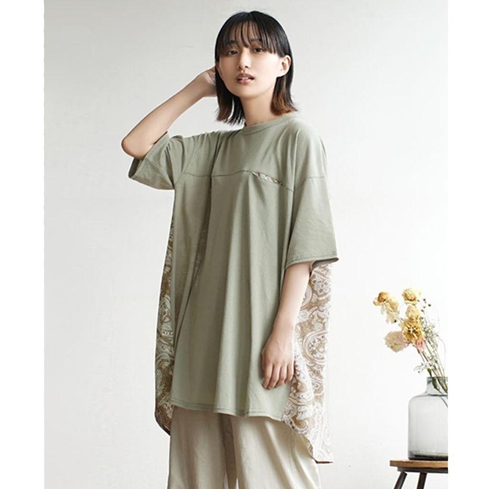 日本 zootie - 前後拼接落肩五分袖長版上衣-墨綠X杏變形蟲圖騰