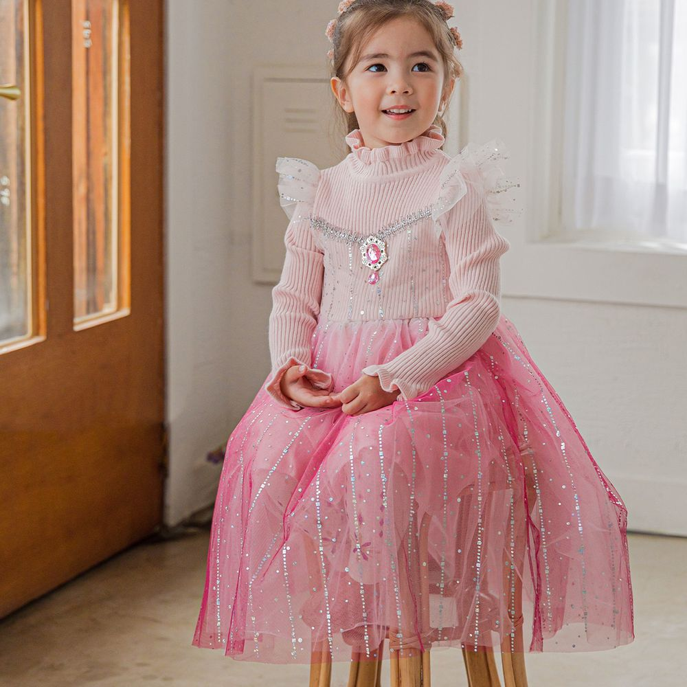 韓國 mari an u - 針織上衣艾莎洋裝-童話粉