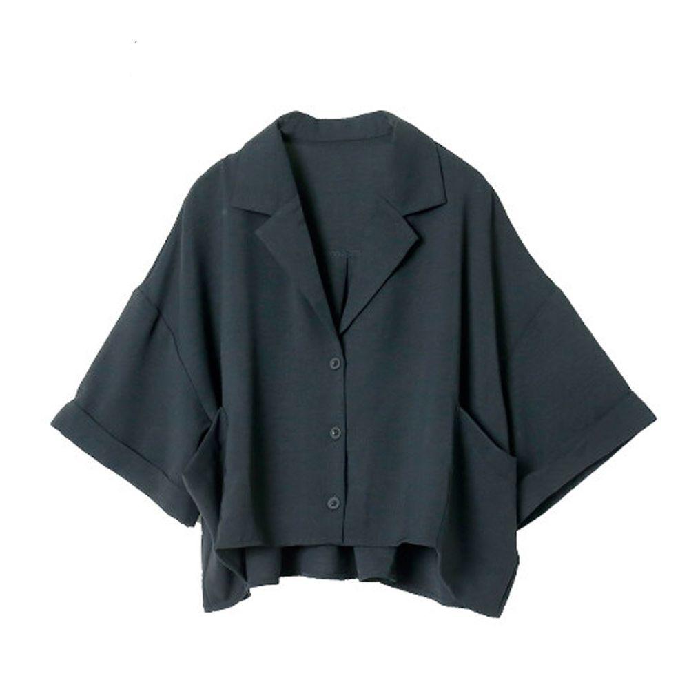 日本 Rejoule - 顯瘦前短後長五分袖寬版口袋襯衫-黑 (M(Free size))
