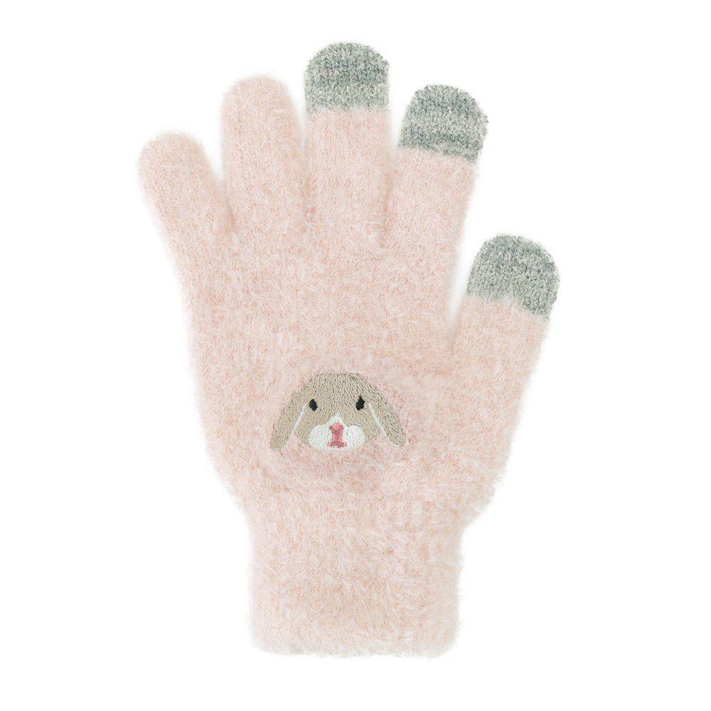 日本 TOMO - (大人)可觸控可愛動物毛絨保暖手套-垂耳兔-粉紅