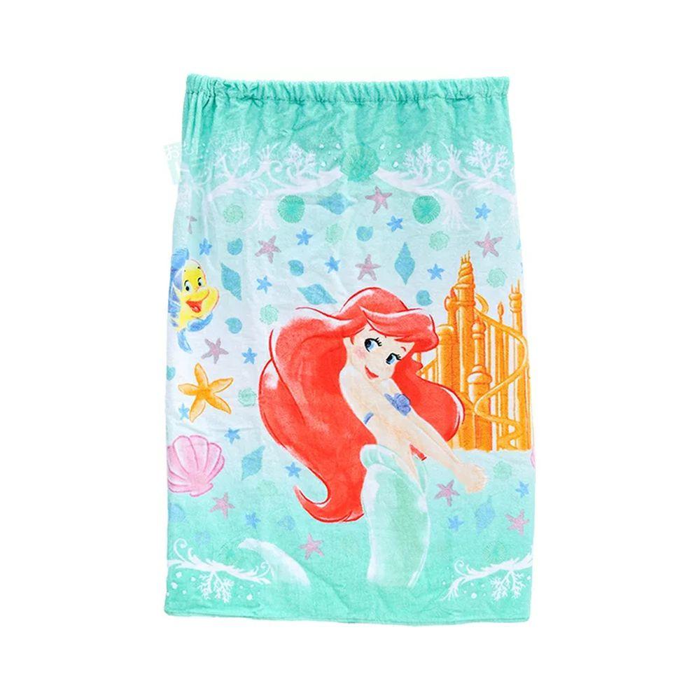日本服飾代購 - 純棉海灘/游泳浴巾/浴袍 (附釦)-小美人魚海洋世界-藍綠 (長80cm(國小中年級以上))