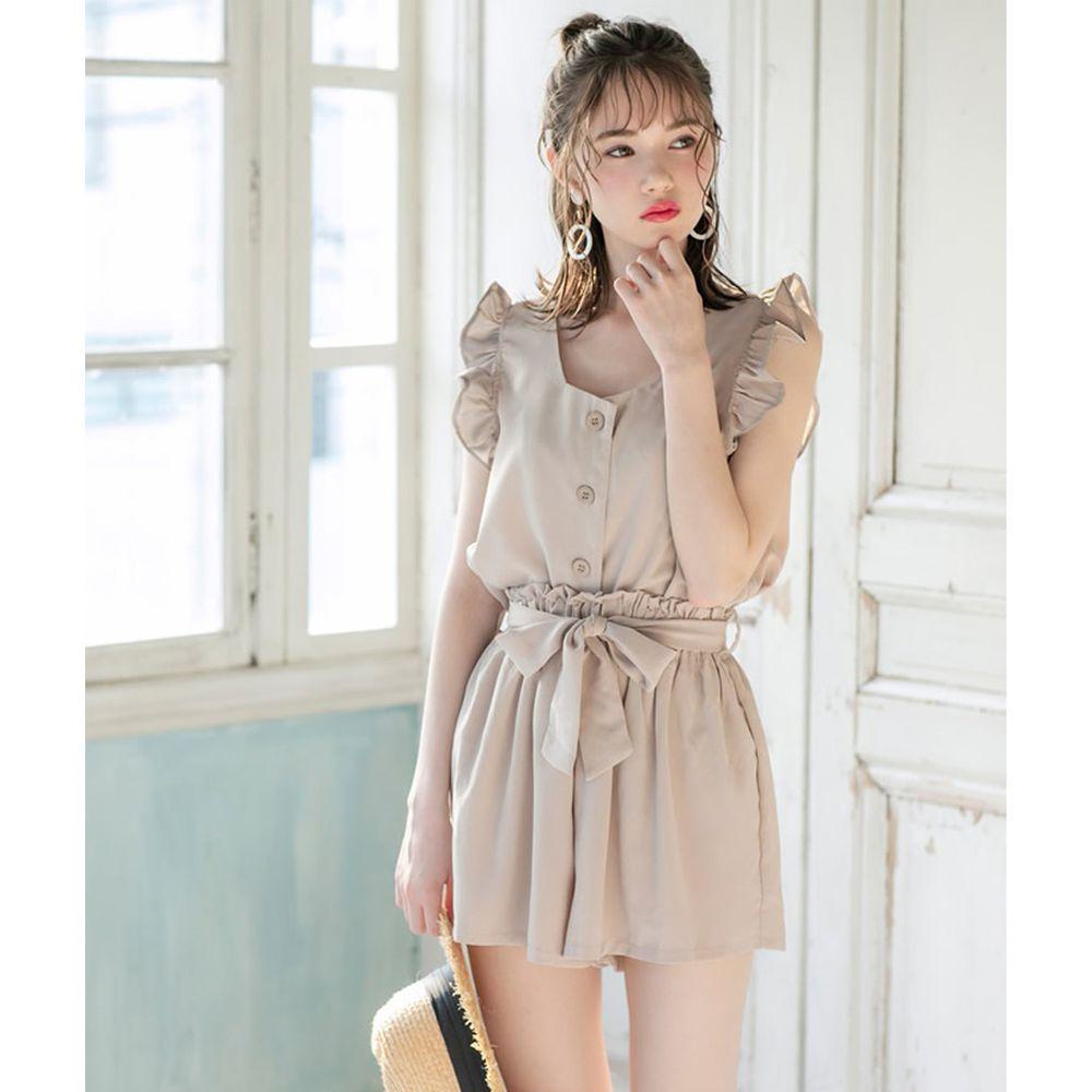 日本 GRL - 荷葉滾邊無袖襯衫上衣X綁帶短褲套裝-氣質杏