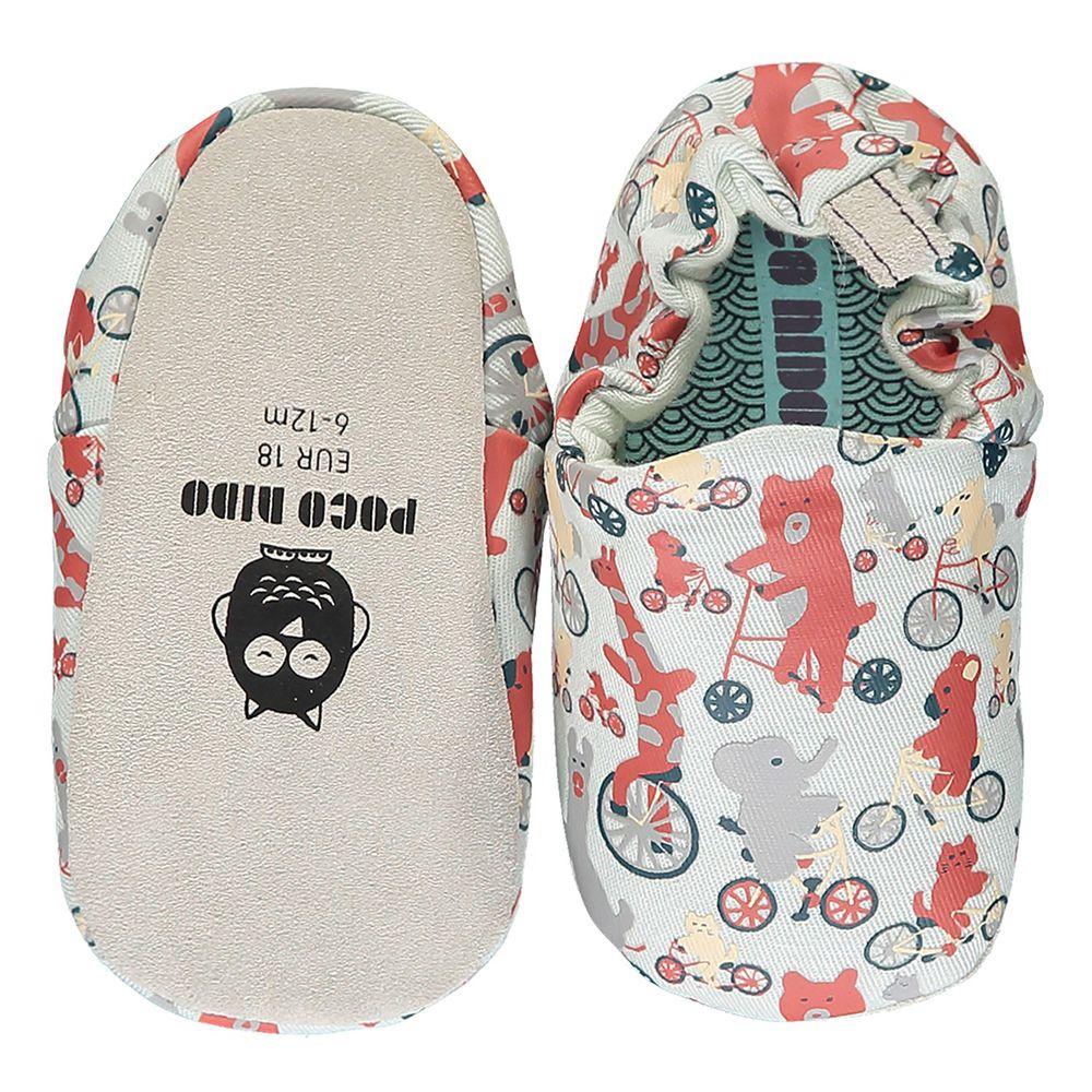 英國 Poconido - 寶寶手工鞋/學步鞋-動物騎車趣-淺灰