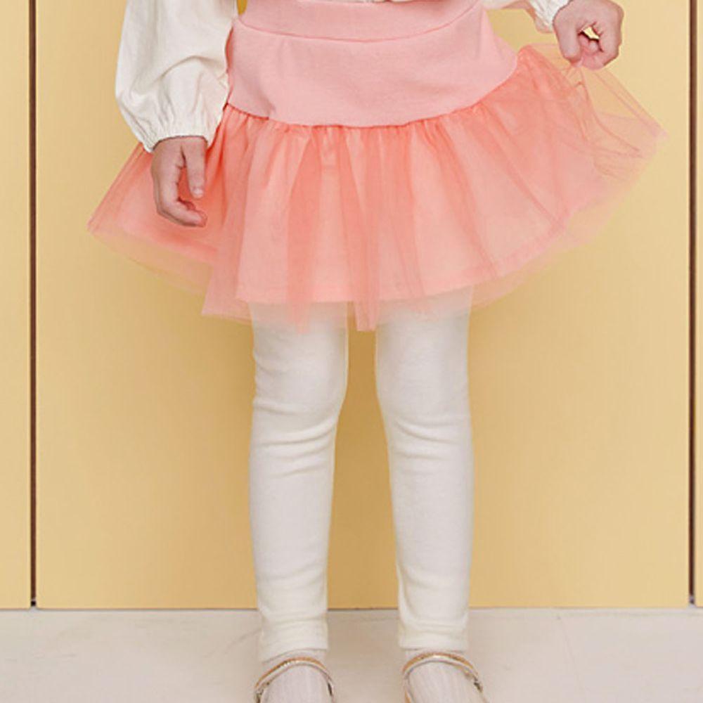 韓國 WALTON kids - 荷葉抓皺網紗褲裙-珊瑚粉