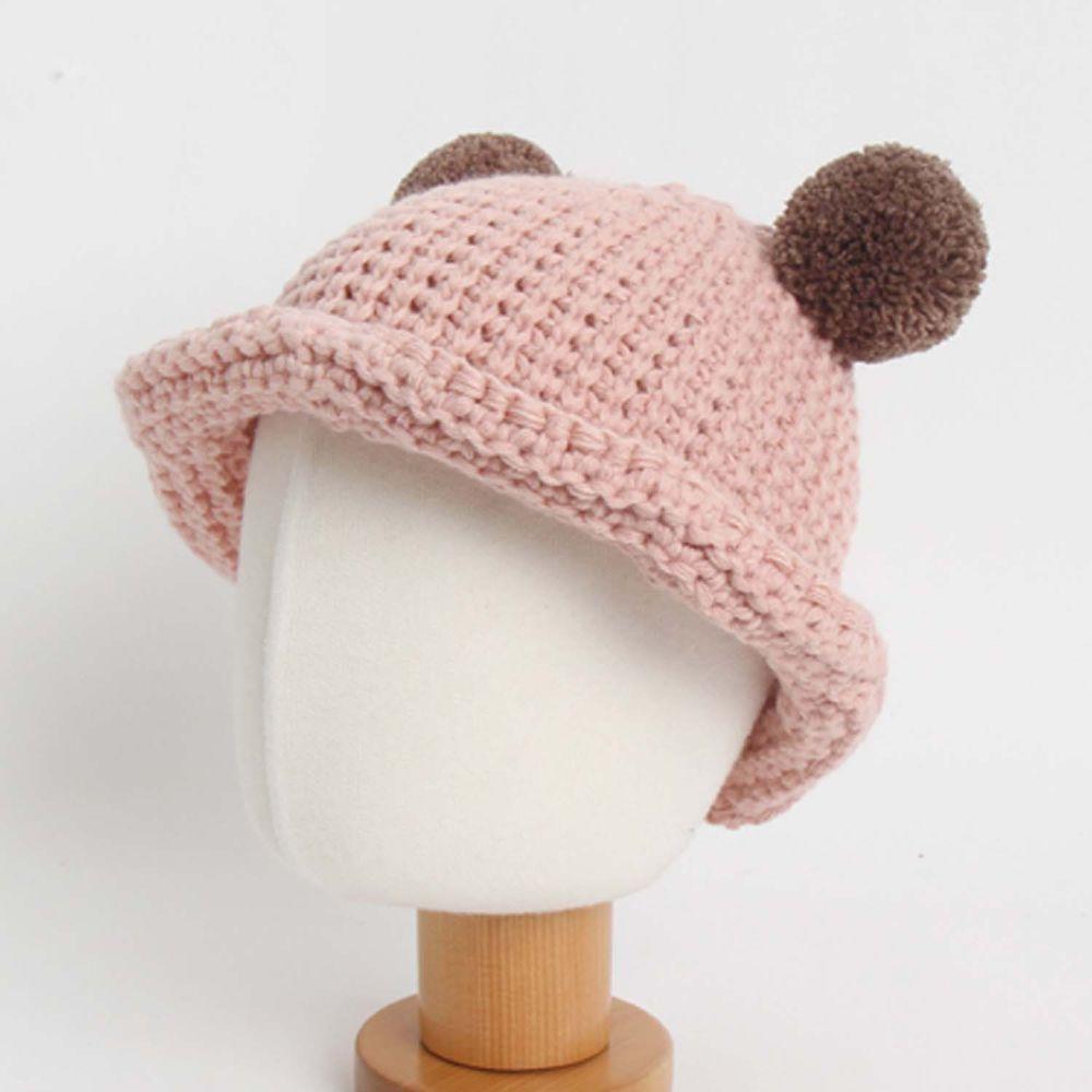 韓國 Babyblee - 球球耳朵針織毛線帽-淺粉紅 (FREE)