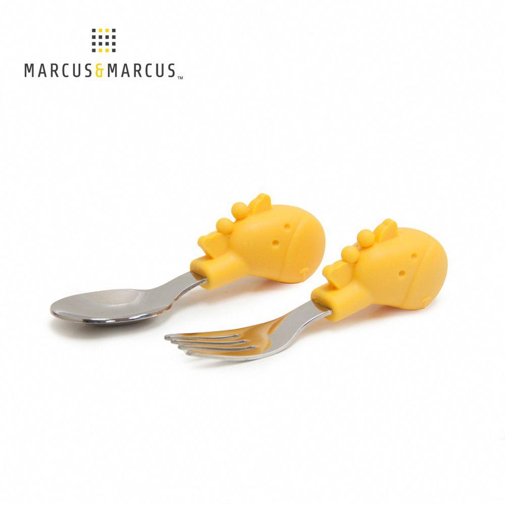 MARCUS&MARCUS - 動物樂園寶寶手握訓練叉匙-黃長頸鹿