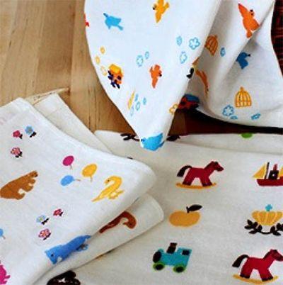 可愛好朋友紗布方巾三件組-小動物/小小鳥/小玩具 (34x34cm)
