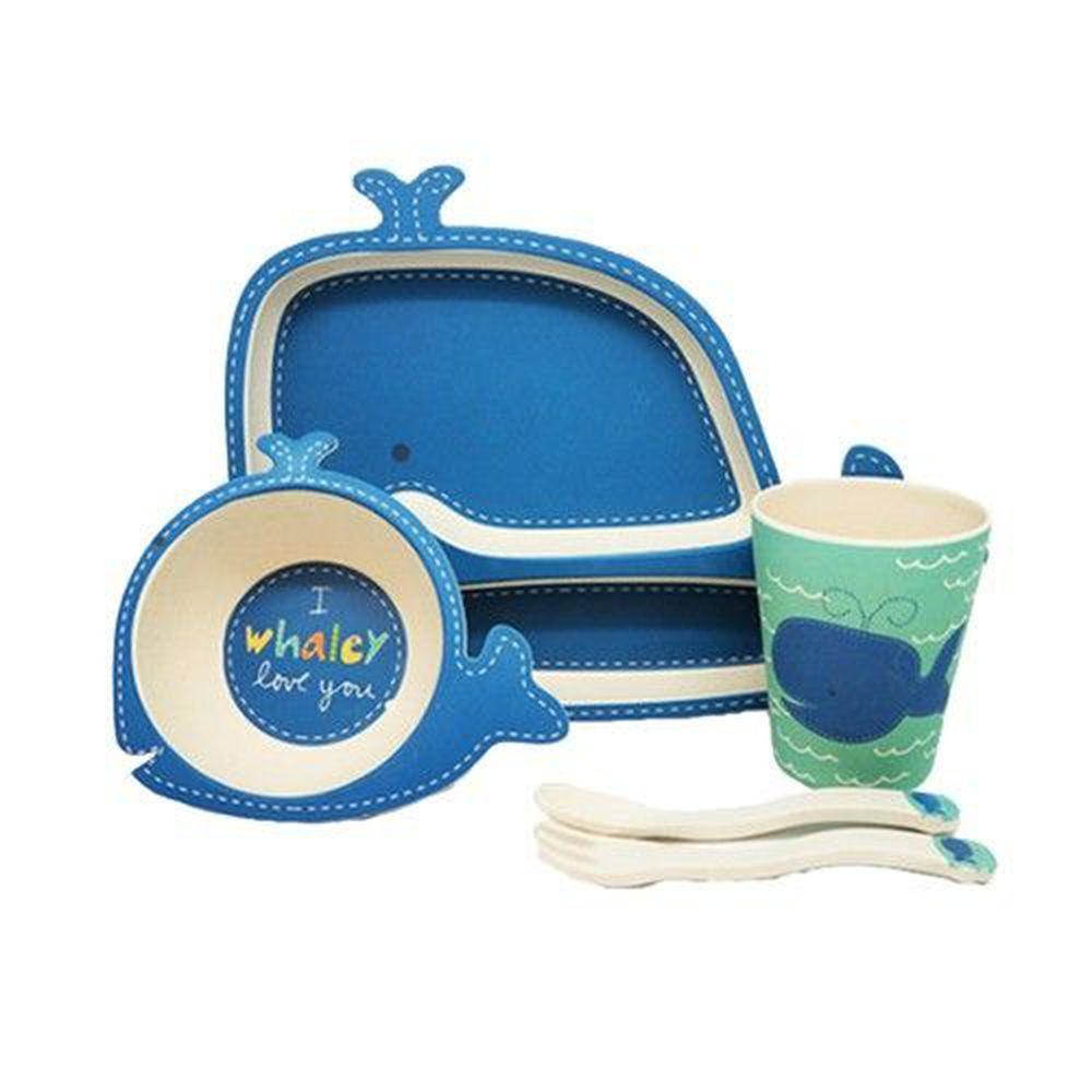 coeco - 竹纖維動物造型兒童餐具五件組-鯨魚