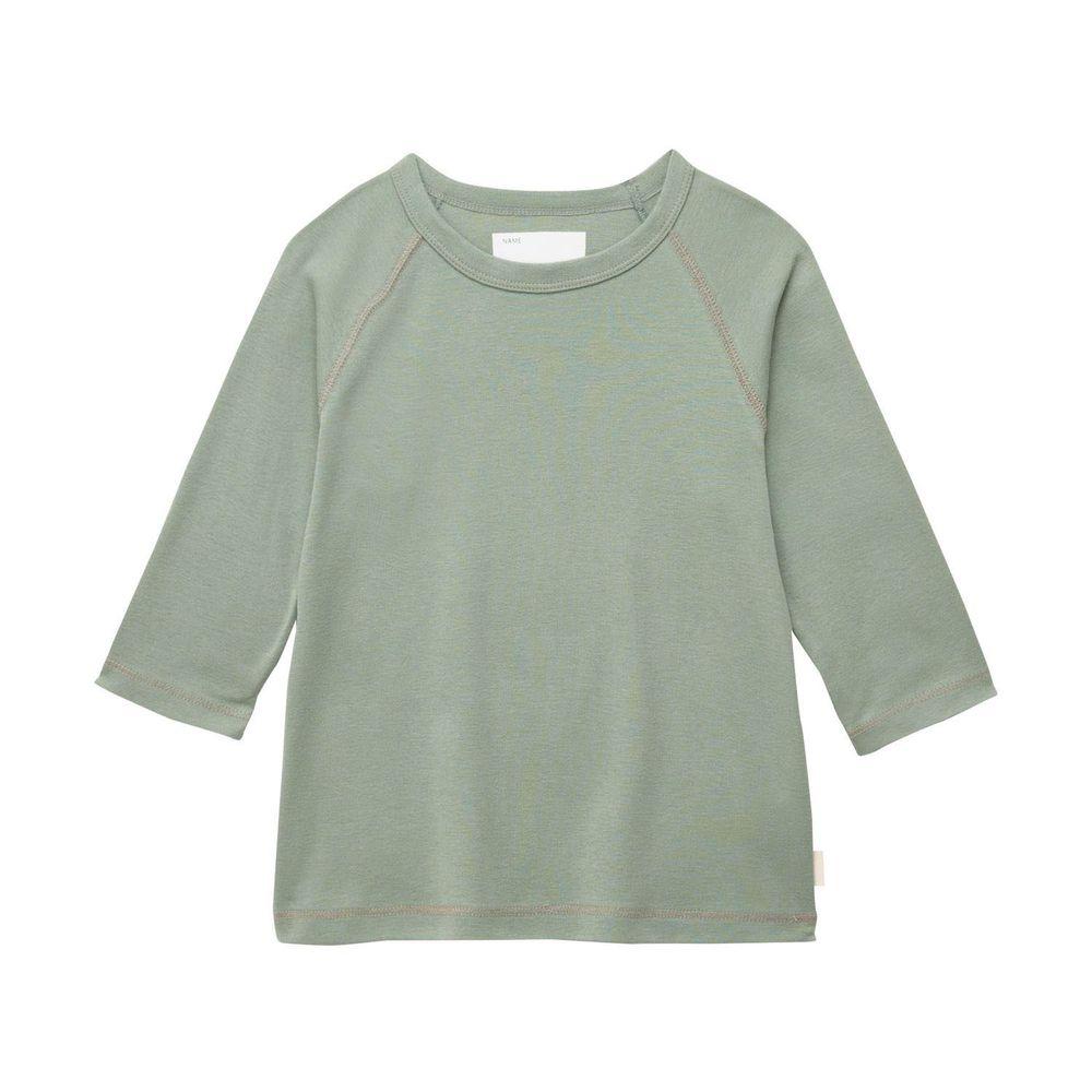 日本千趣會 - GITA 純棉輕薄舒適七分袖T-素面-灰綠