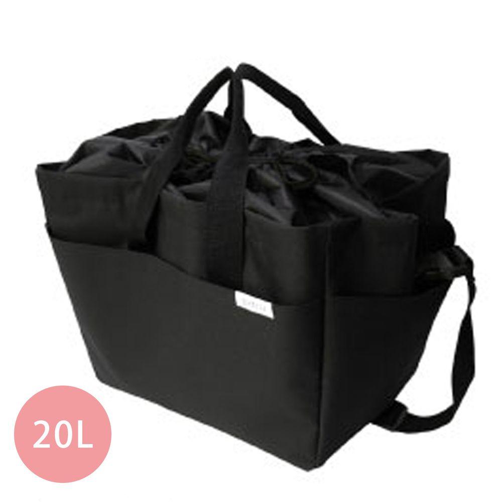 日本 Big Bee - 保冷購物袋(可裝購物籃)-黑-20L