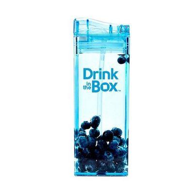 Tritan兒童戶外方形吸管杯-藍色 (355ML)