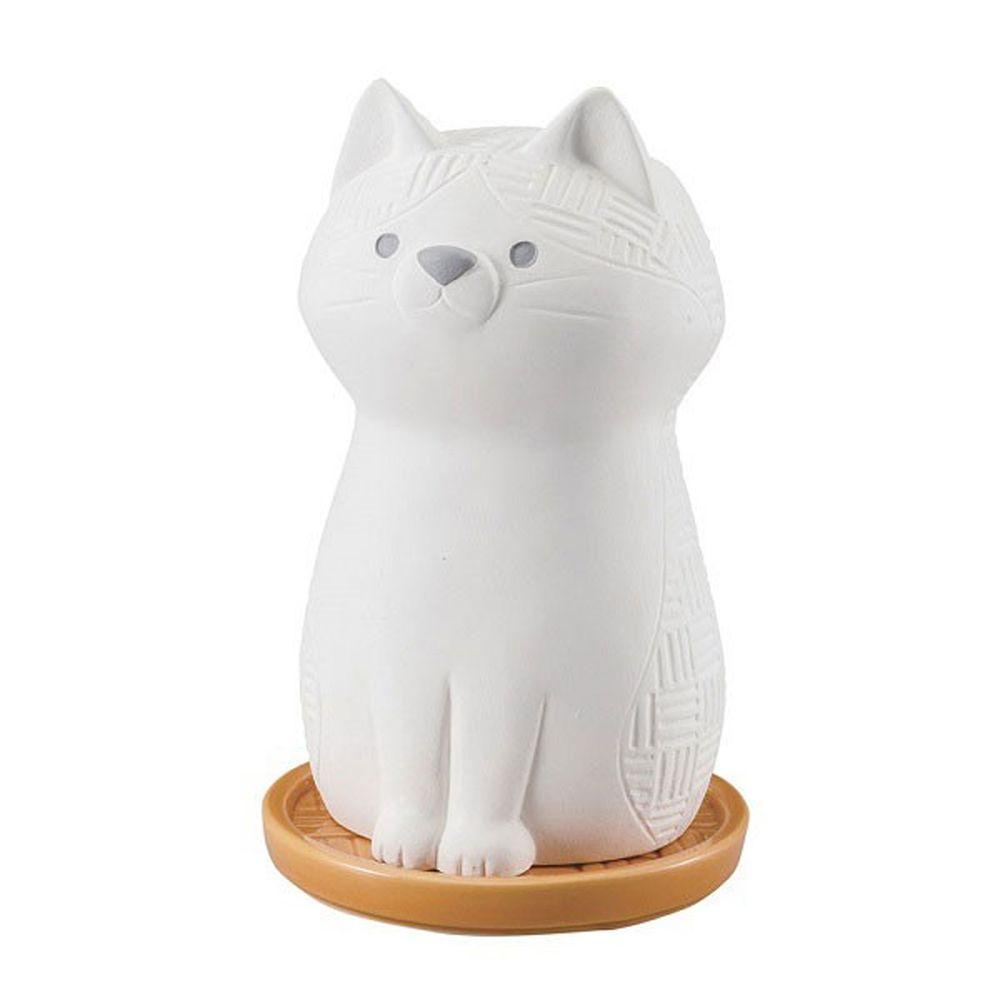 日本 DECOLE - 療癒環保除濕除臭擺飾(可重複使用)-編織紋路 小貓