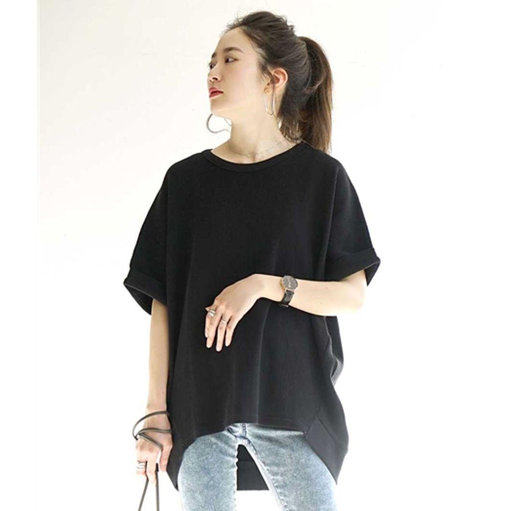 日本 zootie - 純棉鬆餅紋顯瘦五分袖寬版上衣-黑