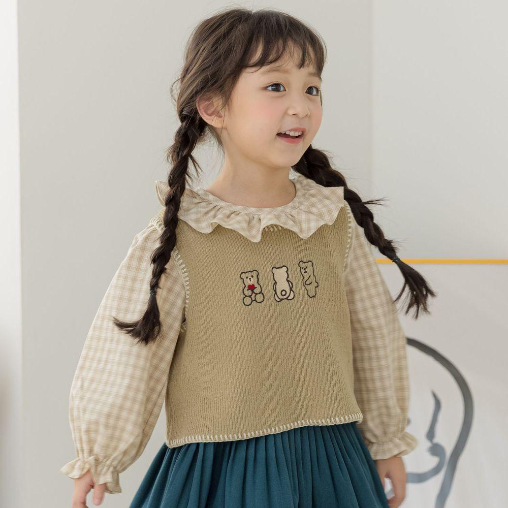 韓國 Orange Mom - 三隻小熊針織短背心-抹茶綠