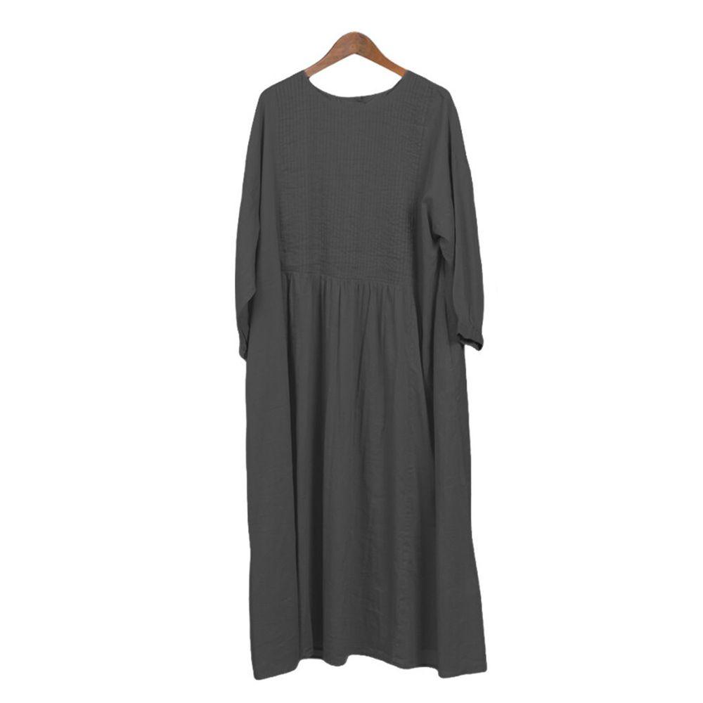 日本 OMNES - 2way森林感排扣純棉洋裝/罩衫-黑 (Free size)