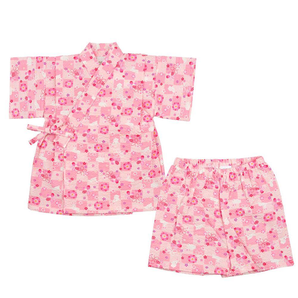 akachan honpo - 兩件式甚平-方格 兔子-粉紅色