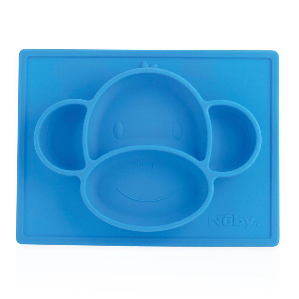Nuby - 動物矽膠餐盤-猴子-藍