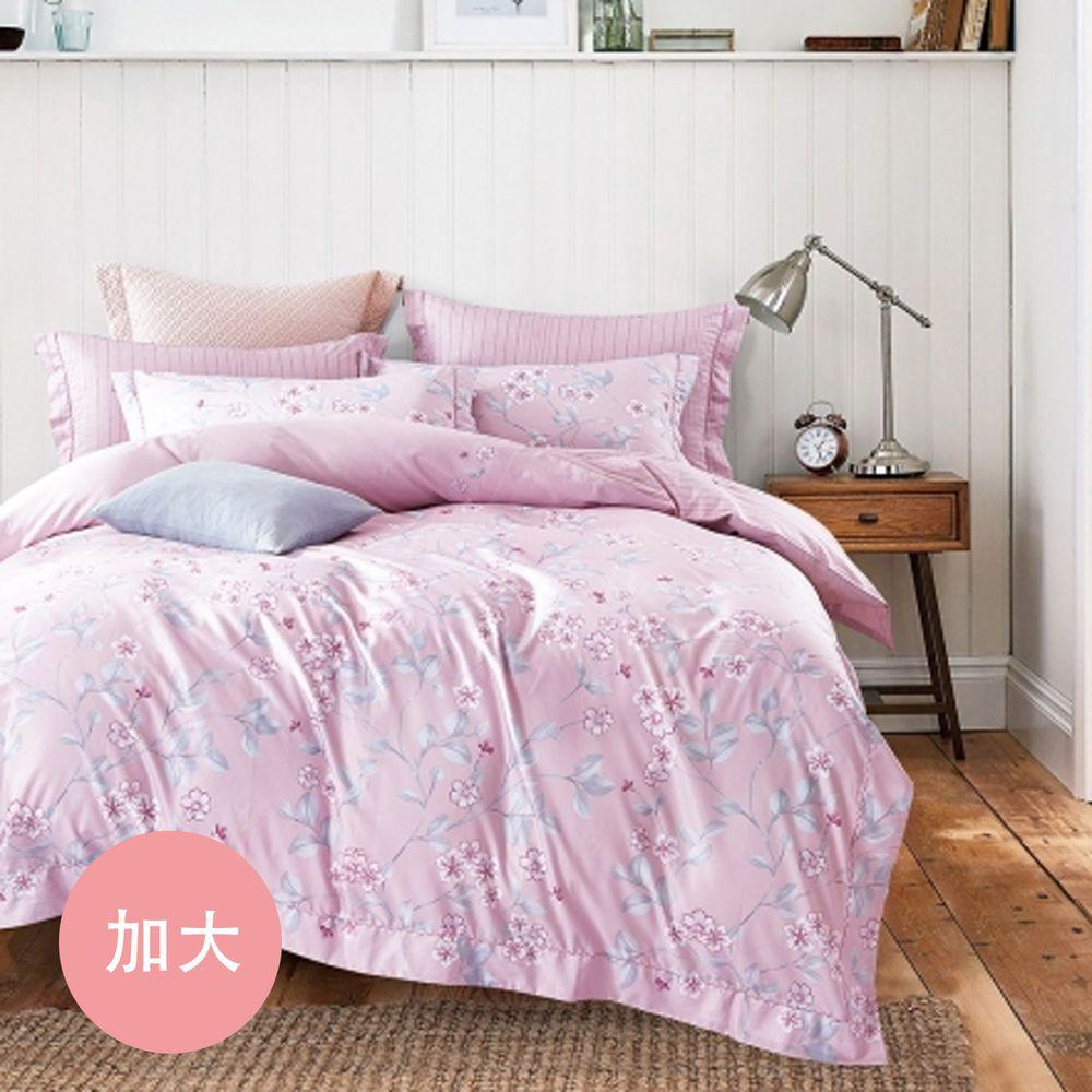PureOne - 吸濕排汗天絲-雲影枝葉-加大床包枕套組(含床包*1+枕套*2)