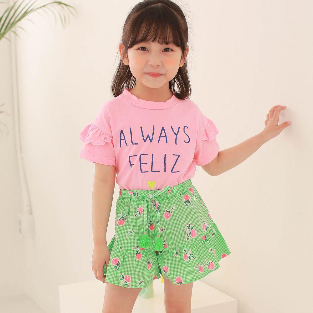 韓國 Dalla - 字母純棉T+格子花花褲裙套裝-粉紅上衣+綠褲